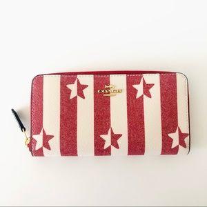 Coach Red Accordion Zip Wallet Stripe Star Print
